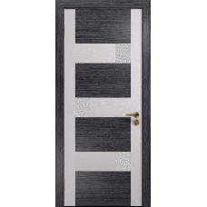 Ульяновская дверь Ронда-1 абрикос/ясень белый стекло триплекс белый с тканью
