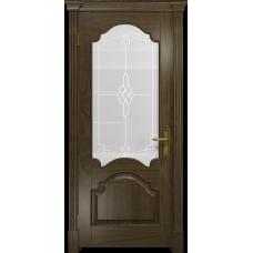 Ульяновская дверь Валенсия-1 американский орех стекло белое пескоструйное «корено»