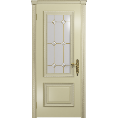 Ульяновская дверь Версаль-1 Декор эмаль слоновая кость стекло витраж «адель»