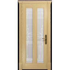 Ульяновская дверь Неаполь ясень ваниль стекло белое пескоструйное «порта»