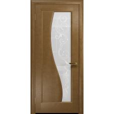 Ульяновская дверь Фрея-1 ясень античный стекло белое пескоструйное «сабина»
