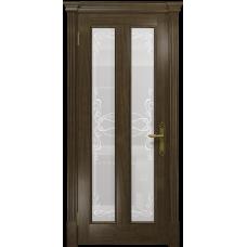Ульяновская дверь Неаполь американский орех стекло белое пескоструйное «порта»