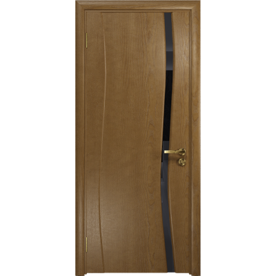 Ульяновская дверь Грация-1 ясень античный стекло триплекс черный
