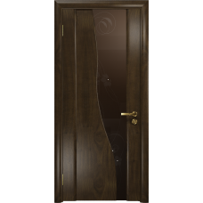 Ульяновская дверь Торелло американский орех тонированный стекло триплекс бронзовый «вьюнок» глянцевый