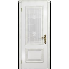 Ульяновская дверь Версаль-1 Декор эмаль белая стекло белое с гравировкой «кардинал»