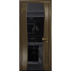 Ульяновская дверь Портелло-2 американский орех стекло триплекс черный «вьюнок» глянцевый