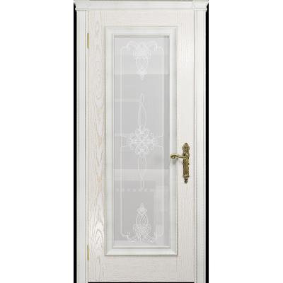 Ульяновская дверь Версаль-5 Декор ясень белый золото стекло белое пескоструйное «валенсия»