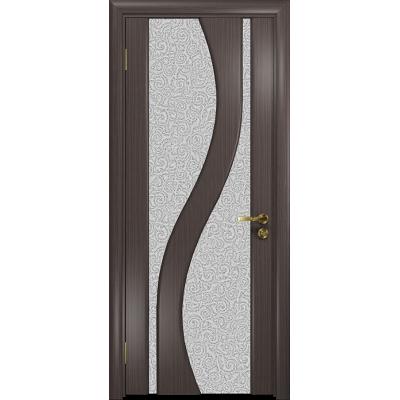 Ульяновская дверь Веста эвкалипт стекло триплекс белый с тканью