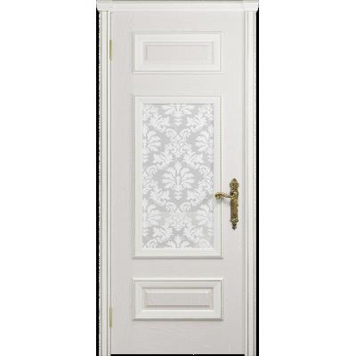 Ульяновская дверь Версаль-4 ясень белый стекло белое пескоструйное «ковер»