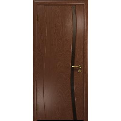 Ульяновская дверь Грация-1 красное дерево стекло триплекс бронзовый «вьюнок» матовый