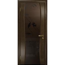 Ульяновская дверь Портелло-2 американский орех тонированный стекло триплекс бронзовый «вьюнок» матовый