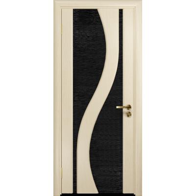 Ульяновская дверь Веста ясень слоновая кость стекло триплекс черный с тканью