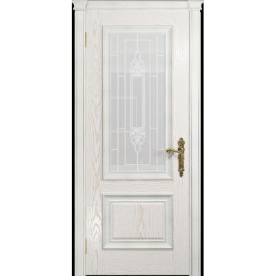 Ульяновская дверь Версаль-1 Декор ясень белый золото стекло белое пескоструйное «кардинал»
