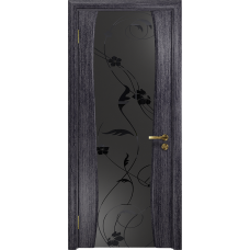 Ульяновская дверь Портелло-2 абрикос стекло триплекс черный «вьюнок» матовый
