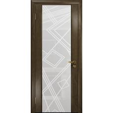 Ульяновская дверь Триумф-3 американский орех стекло триплекс белый 3d «куб»