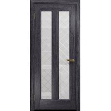 Ульяновская дверь Тесей абрикос стекло белое с гравировкой «решетка»
