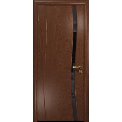 Ульяновская дверь Грация-1 красное дерево стекло триплекс черный «вьюнок» глянцевый
