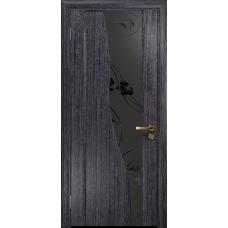 Ульяновская дверь Торелло абрикос стекло триплекс черный «вьюнок» матовый