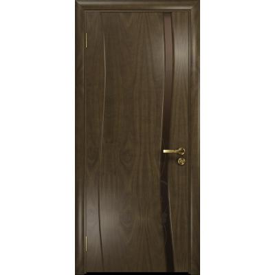 Ульяновская дверь Грация-1 американский орех стекло триплекс бронзовый «вьюнок» глянцевый