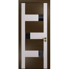 Ульяновская дверь Ронда-1 венге/ясень белый стекло триплекс черный
