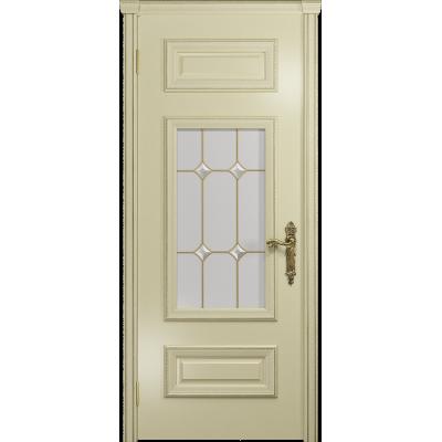 Ульяновская дверь Версаль-4 эмаль слоновая кость стекло витраж «адель»