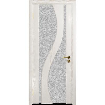 Ульяновская дверь Веста ясень белый золото стекло триплекс белый с тканью