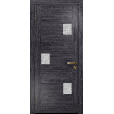 Ульяновская дверь Ронда-1 абрикос стекло триплекс белый с тканью