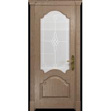 Ульяновская дверь Валенсия-1 дуб стекло белое пескоструйное «корено»