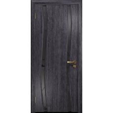 Ульяновская дверь Грация-2 абрикос стекло триплекс черный «вьюнок» матовый