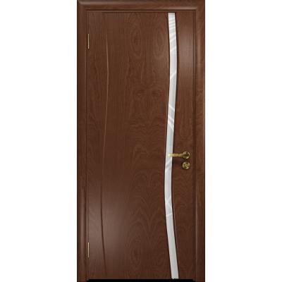 Ульяновская дверь Грация-1 красное дерево стекло триплекс белый 3d «куб»