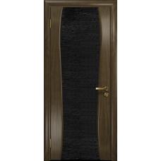 Ульяновская дверь Портелло-2 американский орех стекло триплекс черный с тканью