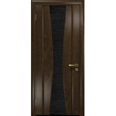 Ульяновская дверь Соната-2 американский орех тонированный стекло триплекс черный с тканью