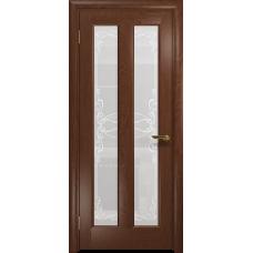Ульяновская дверь Тесей красное дерево стекло белое пескоструйное «порта»