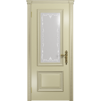 Ульяновская дверь Версаль-1 Декор эмаль слоновая кость стекло белое пескоструйное «версаль-1»