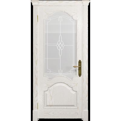 Ульяновская дверь Валенсия-1 ясень белый золото стекло белое пескоструйное «корено»