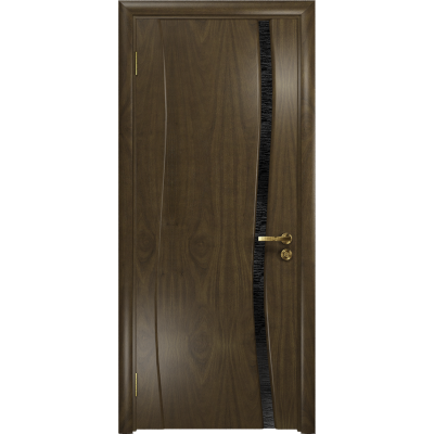 Ульяновская дверь Грация-1 американский орех стекло триплекс черный с тканью