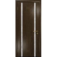 Ульяновская дверь Триумф-2 американский орех тонированный стекло триплекс белый 3d «куб»