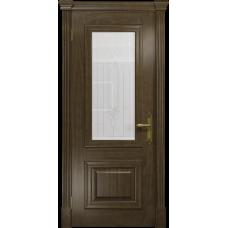 Ульяновская дверь Кардинал американский орех стекло белое с гравировкой «кардинал»