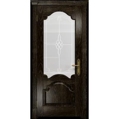 Ульяновская дверь Валенсия-1 ясень венге золото стекло белое пескоструйное «корено»