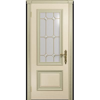 Ульяновская дверь Версаль-1 Декор ясень слоновая кость стекло витраж «адель»
