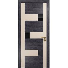 Ульяновская дверь Ронда-2 абрикос/дуб беленый стекло триплекс черный