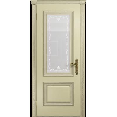 Ульяновская дверь Версаль-1 ясень слоновая кость стекло белое пескоструйное «версаль-1»