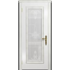 Ульяновская дверь Версаль-5 Декор эмаль белая стекло белое пескоструйное «валенсия»