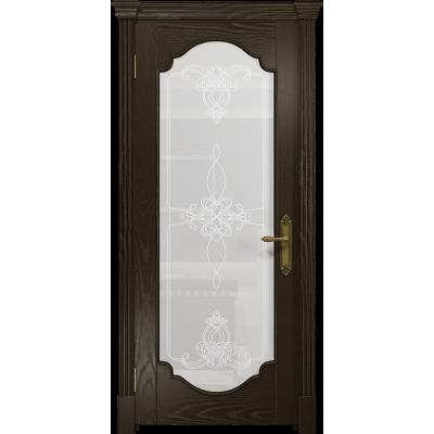 Ульяновская дверь Валенсия-2 ясень венге стекло белое пескоструйное «валенсия»