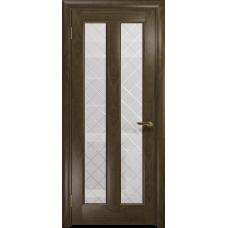 Ульяновская дверь Тесей американский орех стекло белое с гравировкой «решетка»