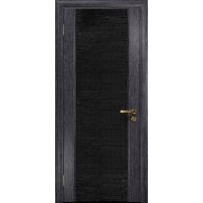 Ульяновская дверь Триумф-3 абрикос стекло триплекс черный с тканью