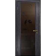 Ульяновская дверь Триумф-3 абрикос стекло триплекс бронзовый «вьюнок» матовый