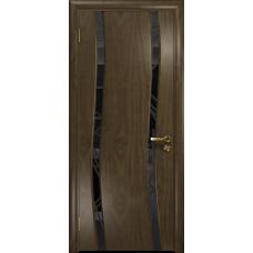 Ульяновская дверь Грация-2 американский орех стекло триплекс черный 3d «куб»