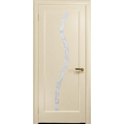 Ульяновская дверь Миланика-4 ясень слоновая кость стекло белое пескоструйное «миланика-4»
