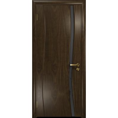 Ульяновская дверь Грация-1 американский орех тонированный стекло триплекс черный «вьюнок» матовый